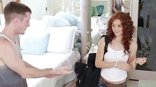 Petite redhead lass is being pounded in her tight snatch