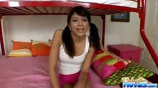 Brunette Teen Babe Invites Her Boyfriend in Her Bedroom