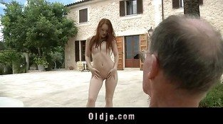 Big old dick satisfy deep horny redhead