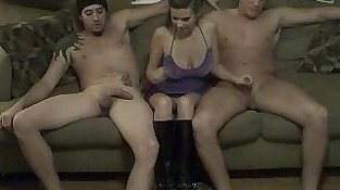 Teen Girlfriend with Big Tits Gives Two Guys A Handjob