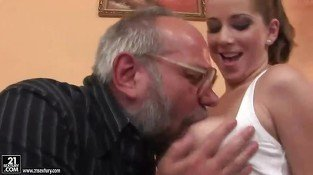 Busty teen seducing a grandpa