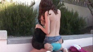 Gabby sexy brunette teen kissing and touching with a horny guy