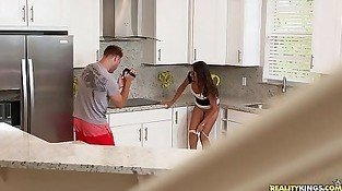 Breathtaking blowjob by agile brunette inside the kitchen