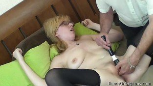Horny Blonde Gets Help Masturbating to Orgasm