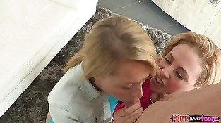 Two blonde babes hit it off by lesbian fun