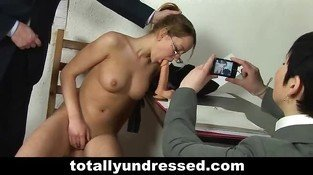 Naked job interview for teen wannabe secretary girl