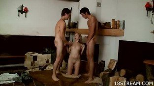 Two teen dudes fuck one hot blonde