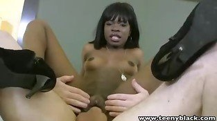 Ebony teen with big clitoris getting fucked