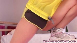Pretty japanese teen fucking in her panties