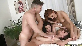 Lucky dude manages to fuck with three horny bitches