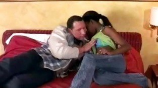 Horny white stud seduces beautiful black teen and licks FRE-black and white 01-1