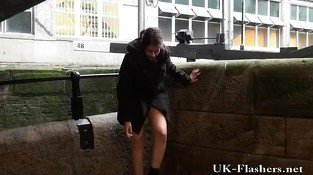 Pissing in public of indian teen peeing outdoors and flashing