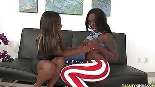 Two hot lesbians do it good to see him cum