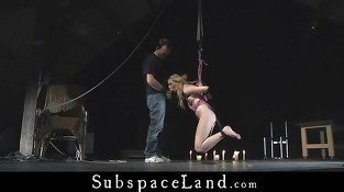 After tied whipping blonde is released to give blowjob